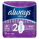 Always Ultra Long Sanitary Towels With Wings 12pk