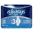 Always Ultra Night Sanitary Towels With Wings 10pk
